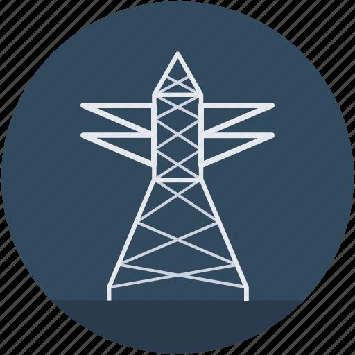 electricity pole, electricity pylon, power mast, transmission pole, utility pylon icon