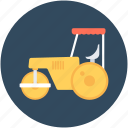 construction, road roller, roller tractor, tractor, vehicle