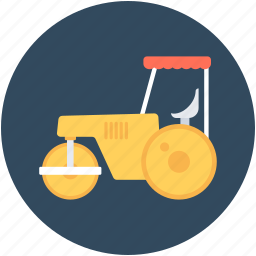 construction, road roller, roller tractor, tractor, vehicle icon