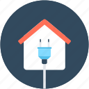 electricity, energy, house, plug, power station icon