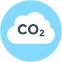 carbon dioxide, cloud, co2, formula, science icon