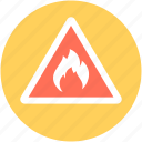 dangerous, fire warning, flame, risk, warning sign icon