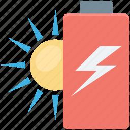 battery, charging, power, solar energy, thunder icon