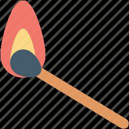 burn, burn stick, fire, flame stick, matchstick icon