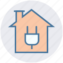 building, electric, energy, home, house, plug, power station icon