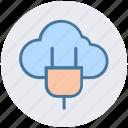 cloud computing, cloud plugin, energy, hosting, icloud, plug, power icon