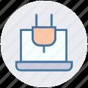 laptop, laptop charging, laptop power, notebook, plug, power plug icon