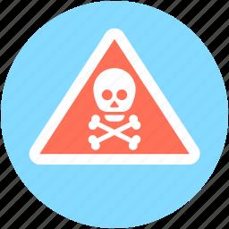 bones, danger, skull, toxic, warning sign icon