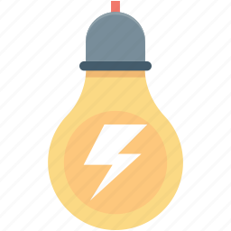 bolt, bulb, bulb light, electric bulb, thunder icon