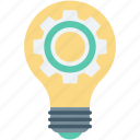 bulb, cog, creativity, gear, light bulb icon