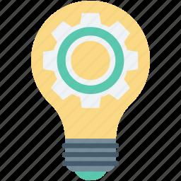 bulb, cog, creativity, gear, light bulb icon