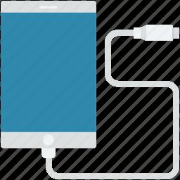 data cable, mobile, usb cable, usb cord, usb plug icon