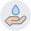 ecology, hand, purified water, rain water, save water, water drops, water saving