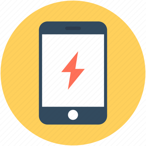 flash sign, mobile, smartphone, technology, thunder icon