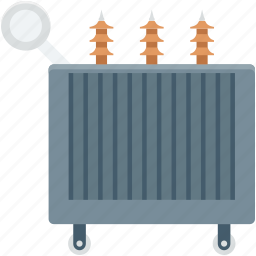 electricity, electricity transformer, power supply, power transformer, radiator icon