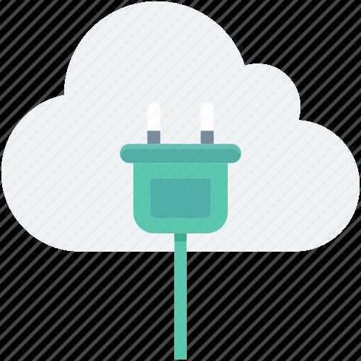 cloud computing, cloud plugin, icloud, plug, power plug icon