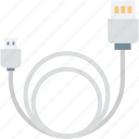 cable, computer cable, data cable, usb cable, usb cord icon