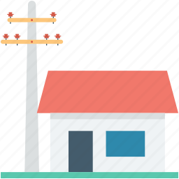 electricity, energy, farm house, house, power icon
