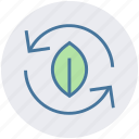 ecology, leaf, nature, recycling, renewable energy icon