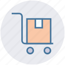cart, delivery, hand trolley, hand truck, luggage cart, pushcart, trolley icon