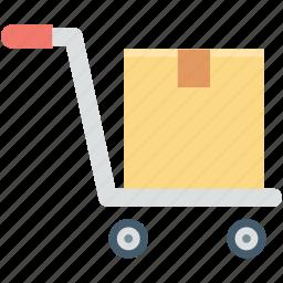 hand trolley, hand truck, luggage cart, pushcart, trolley icon