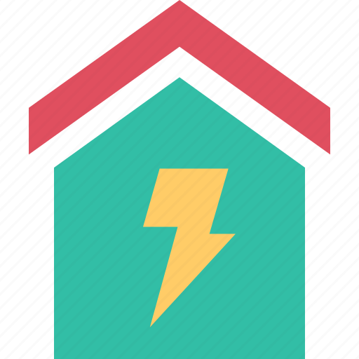 home, house, lightning, roof icon