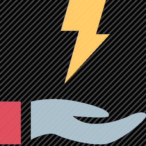 hand, holding, lightning, power icon