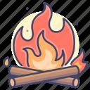 fire, burn, wood, bonfire icon
