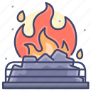 coal, fire, fireplace, burning icon