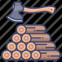 axe, log, wood, timber