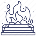 burning, fireplace, fire, coal icon