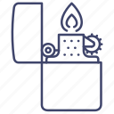 lighter, flame, fire, light icon