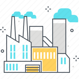 business, energy, factory, plant, pollution, power plant, production icon