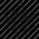 atom, line, molecule, outline, scientific, sphere, thin icon