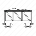 coal, energy, line, mine, outline, thin, wagon icon