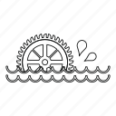 line, mill, outline, thin, water, watermill, waterwheel icon