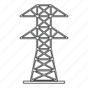 electric, energy, line, outline, power, thin, tower icon