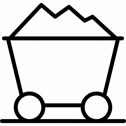 cart, coal, fossil, lugger, tain, track, trolley icon