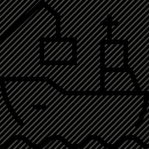cargo, coal, logistics, port, ship, vessel icon