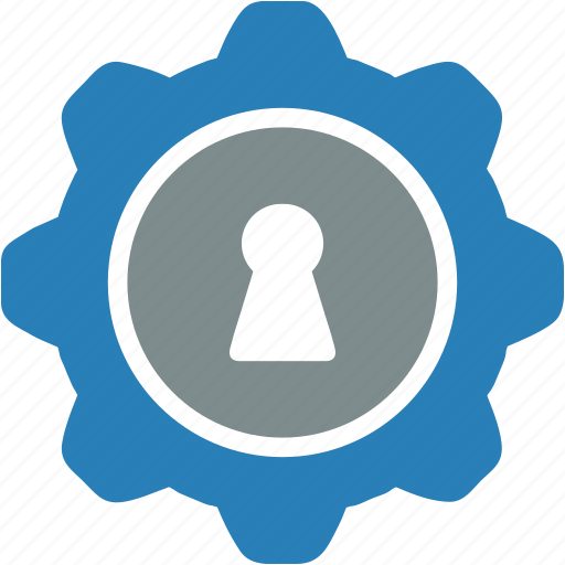 door, gear, hole, key, security, settings, theft icon