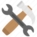 garage tools, hand tools, repair tools, screwdriver, wrench and hammer icon