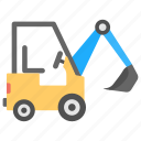 bulldozer, construction vehicle, heavy machinery, industrial transport, wheeled excavator icon
