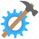 hammer and gear, industrial tool, maintenance, repair, service symbol icon