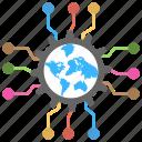 digital world, futuristic digital world, global technology, internet technology, world globe circuit icon