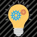 bright idea, idea generation, innovation, mechanism, technology process icon