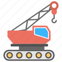 bulldozer, construction, crawler, excavator, heavy machinery icon