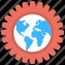 cartography, earth engineering, global technology, globe with gear, planet inside cogwheel