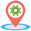 android gps settings, gear inside map pin, location services, location settings, location settings app icon