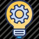 bulb, electricity, electronics, gear, idea, invention, light
