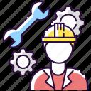 mechanical engineer, mechanical engineer icon, repairman, technician icon